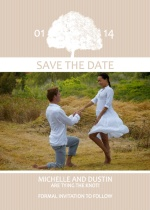 Dusty Rose and White Grand Tree Save The Date