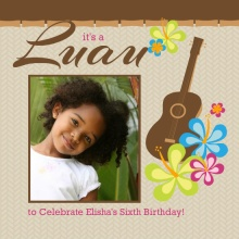 Pink and Brown Kids Birthday Luau Invitation