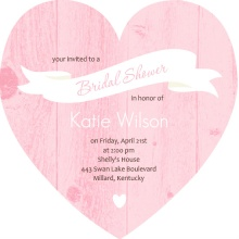 Pink Wood Grain Banner Bridal Shower Invitation