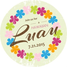 Flower Lei Luau Party Invite