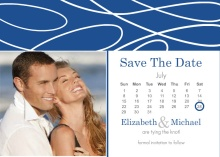 White Scattered Lines and Blue  Save The Date