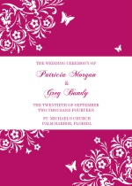 Bright Pink Butterfly Floral  Wedding Program