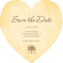 Brown and White Antique Wedding Heart Save the Date