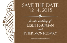 Rustic Brown Swirl Save the Date