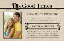 Antique News Engagement Party Invite