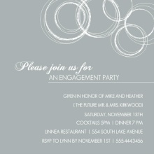 White on Grey Engagement Party Invite