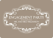 Tan Floral Frame Engagement Party Invitation
