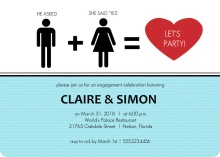 Gender Icons Modern Engagement Party Invite
