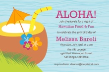 Blue Tropical Drink Luau Invite