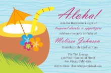 Blue Tropical Drink Luau Birthday Invite