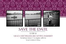 Sangria and Black Elegant Damask  Save The Date Announcement