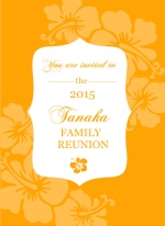 Orange Tropical Flowers Luau Reunion Invite