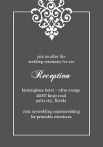 Gray and Elegant White Flourish  Reception Card