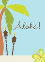 Hula Dance Scene Luau Party Invitations