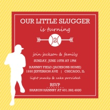Red and Yellow Player Silhouette Baseball Party Invitation