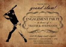 Rustic Black and Brown Baseball Party Invitation