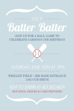 Modern Brackets Red and Blue Baseball Party Invitation