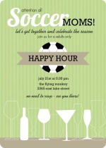 Green Stripe White Drinks Soccer Mom Invitation