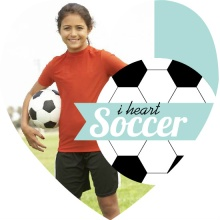 Turquoise Heart Soccer Birthday Invitation