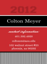 Red and Black Stripes Contact Card