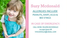 Pink Gingham Allergy Card
