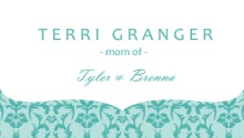 Turquoise Damask Mommy Card
