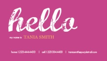 Purple Hello Business Card
