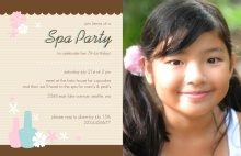 Pink and Turquoise Flowers Spa Birthday Invitation