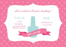 Pink Polka Dot Spa Birthday Invite