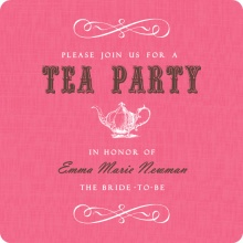 Pink Vintage Tea Pot Tea Bridal Shower Invite