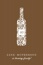 Brown Stripe Wine Bottle Birthday Invitation