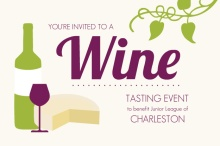 Wine Bottle and Cheese Wine Tasting Invitation