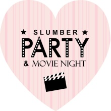 Pink and Black Slumber & Movie Night Invite