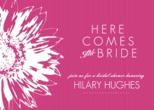 Vibrant Pink Sunflower Bridal Shower Invites