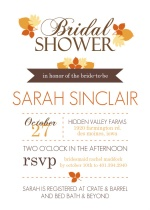 Modern Fall Leaves Bridal Shower Invite