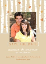 Birch Tree and Fall Leaves  Save The Date