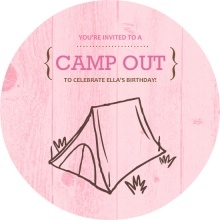Brown and Pink Wood Grain Camp Out Invitation