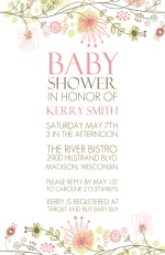 Spring Floral Border Baby Shower Invitation