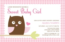 Pink Owl  Baby Shower Invite