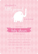 Pink and White Little Elephant with Peanut Girl Baby Shower Invitations