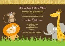 Safari Animals  Girl Baby Shower Invite