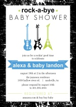 Rock-a-Bye Baby Guitars Shower Invitation