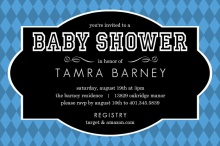 Harlequin and Black Frame Boy Baby Shower Invitation
