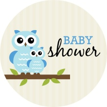 Blue Whimsical Owls  Boy Baby Shower Invitation
