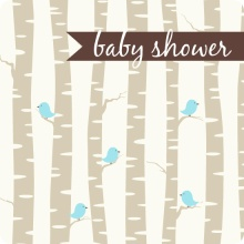 Blue Bird with Birch Trees Boy Baby Shower Invitation