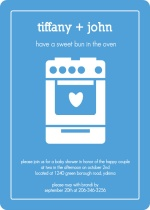 Blue Bun in the Oven Boy Baby Shower Invite
