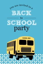 Blue Patterned School Bus Back to School Party Invitation