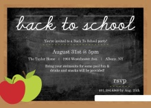 Chalkboard with Apple & Chalk Back to School Party Invitaiton