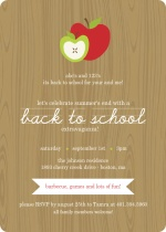 Wood Grain with Apples Back To School Party Invitation