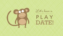 Green Monkey Mommy Playdate Card